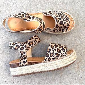 New Leopard Velcro Ankle Strap Espadrille Sandals